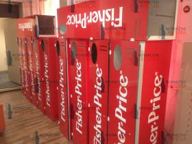 Декоротивные короба для демонстрационного комплекса Виртуальный промоутер выполненные по заказу компании Mattel